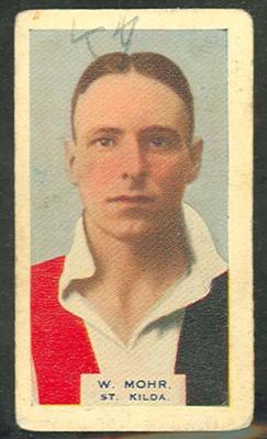 1933 Hoadleys Victorian Footballers Wilbur Mohr trade card