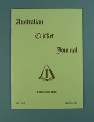 Magazine, Australian Cricket Journal vol 1 no 2