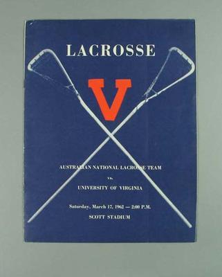 Programme, Australian National Lacrosse team v University of Virginia 17 March 1962