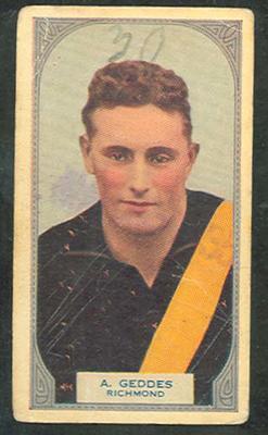 1933 Hoadleys Victorian Footballers Allan Geddes trade card