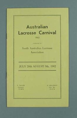 Programme, Australian Lacrosse Carnival 1962