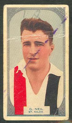 1933 Hoadleys Victorian Footballers Geoff Neil trade card