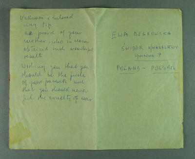 Note from Ewa Berkowska to Philip de la Hunty, 1956