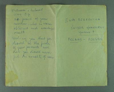 Note from Ewa Berkowska to Philip de la Hunty, 1956
