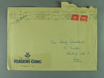 Envelope addressed to Shirley Strickland, 1 October 1952