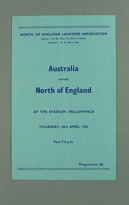 Programme, Australia v North of England lacrosse match 26 April 1962