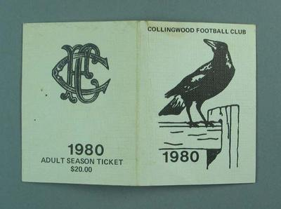 Season ticket, Collingwood Football Club 1980