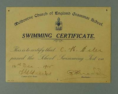 Certificate presented by Melbourne Church of England Grammar School, certifying that CH Esler passed the school swimming test on 14 December 1915