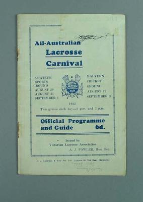 Programme, All-Australian Lacrosse Carnival 1932