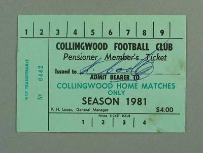 Season ticket, Collingwood Football Club 1981