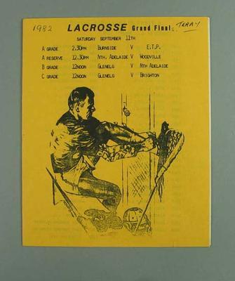 Programme, South Australian lacrosse grand finals 1982