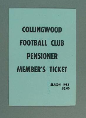 Season ticket, Collingwood Football Club 1982