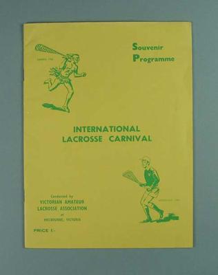 Programme for 1959 International Lacrosse Carnival