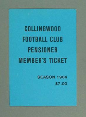 Season ticket, Collingwood Football Club 1984