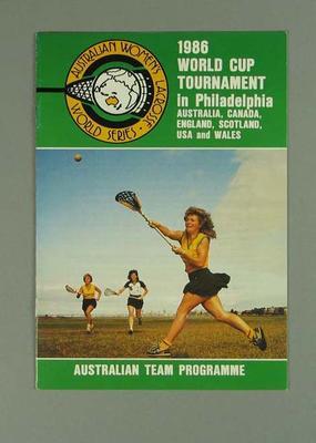 Programme, 1986 World Cup Tournament Women's Lacrosse