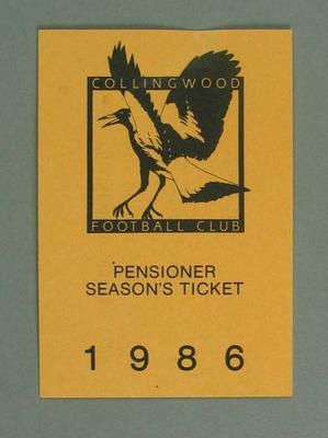 Season ticket, Collingwood Football Club 1986
