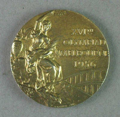 Gold medal won by Shirley Strickland in 80m hurdles event, 1956 Olympic Games