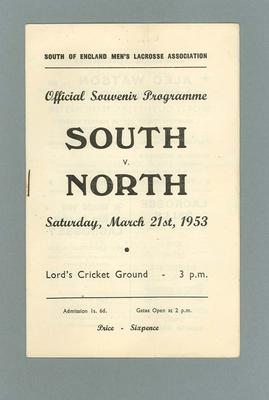 Programme - North v South England Lacrosse Match at Lord's 21 March 1953