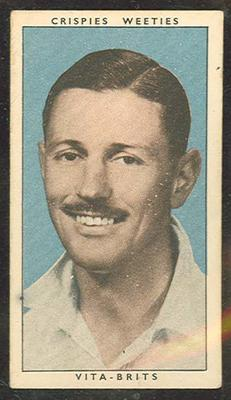 1948 Cereal Foods Leading Cricketers Richard Niehuus trade card; Documents and books; M12399.15