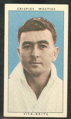 1948 Cereal Foods Leading Cricketers Aubrey Carrigan trade card