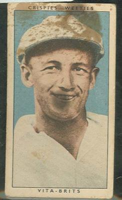 1948 Cereal Foods Leading Cricketers Don Bradman trade card