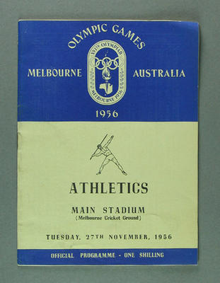 Programme for 1956 Olympic Games athletic events, 27 November