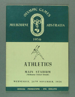 Programme for 1956 Olympic Games athletic events, 28 November