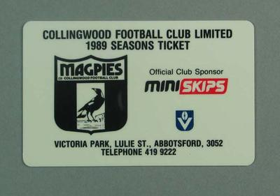 Season ticket, Collingwood Football Club 1989