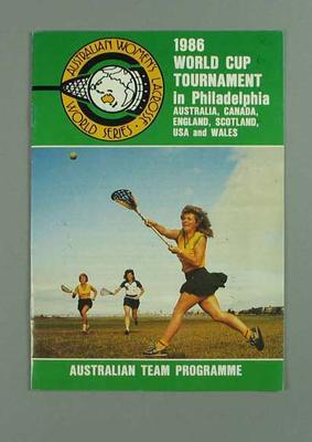 Programme, 1986 World Cup Lacrosse Tournament