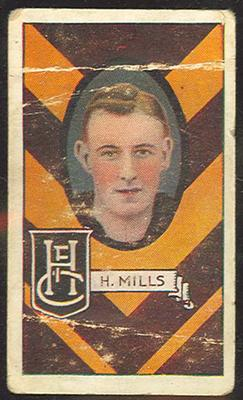 1933 Allen's League Footballers Bert Mills trade card; Documents and books; M12403.2