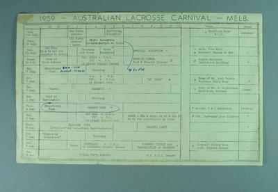 Schedule for Australian Lacrosse Carnival, 1959
