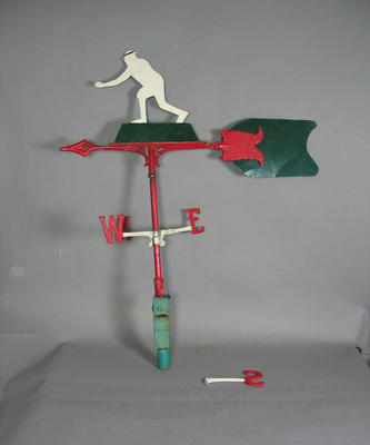 Part of a weather vane, image of lawn bowler