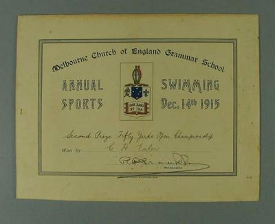 Certificate presented by Melbourne Church of England Grammar School, certifying that CH Esler finished second place in Fifty Yards Open Championship on 14 December 1915