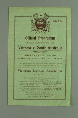 Programme for Victoria v South Australia lacrosse match, 12 August 1922