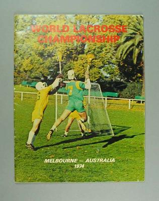 Programme for World Lacrosse Championship, Melbourne 1974