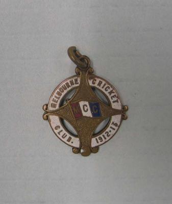 Melbourne Cricket Club membership medallion, season 1912/13; Civic mementoes; M10234.2