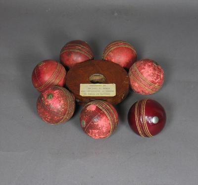 Cricket ball collected by umpire Lou Rowan, Australia v England Test - Sydney, 1963