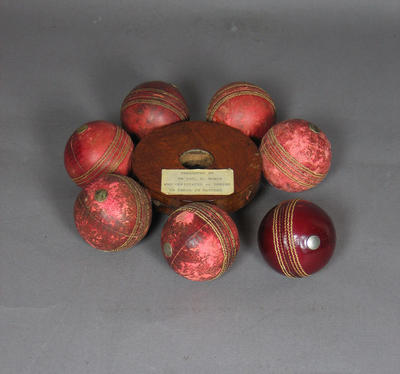 Cricket ball collected by umpire Lou Rowan, Australia v South Africa Test - Brisbane, 1963