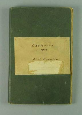 Scrapbook containing clippings related to lacrosse, assembled by Arch Fowler 1935