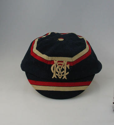 Melbourne Cricket Club cap, worn by A Strahan