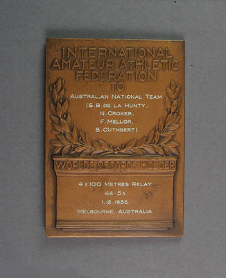 IAAF World Record plaque for 4x100m relay, Melbourne 1 December 1956
