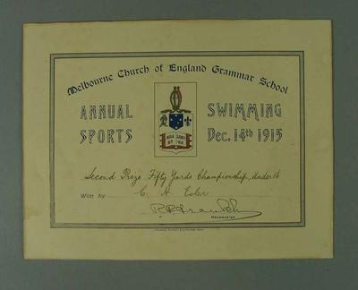 Certificate presented by Melbourne Church of England Grammar School, certifying that CH Esler finished second place in Fifty Yards Under 16 Championship on 14 December 1915