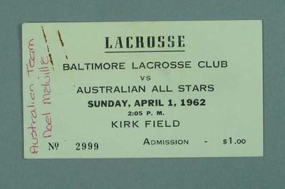 Ticket, Australia v Baltimore lacrosse match 1 April 1962