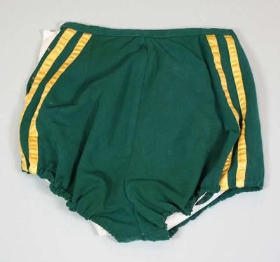 Athletic shorts in Australian colours, worn by Shirley Strickland at 1956 Olympic Games