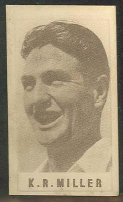 1946-47 Australian Cricketers K R Miller trade card; Documents and books; M12458.16