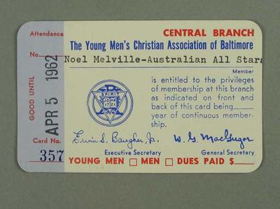 Membership card for YMCA Baltimore, issued to Noel Melville April 1962