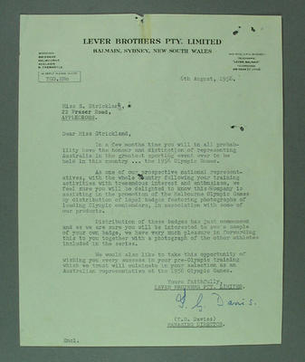 Letter from Lever Brothers Pty Ltd to Shirley Strickland, 6 Aug 1956; Documents and books; 2003.3903.1324