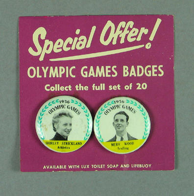 Lapel pins featuring Shirley Strickland & Merv Wood, 1956 Olympic Games