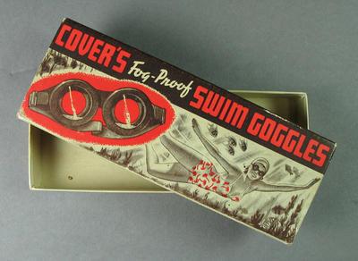 Cardboard box for swimming goggles, c1940s