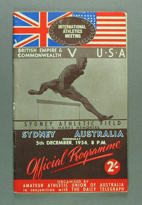 Programme for British Empire & Commonwealth v USA athletic meeting, 5 Dec 1956